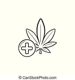 contorno, scarabocchiare, medico, marijuana, mano, disegnato, icon.