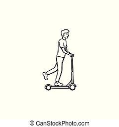contorno, scarabocchiare, scooter, mano, disegnato, icon., calcio, uomo