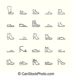 contorno, scarpe, icone
