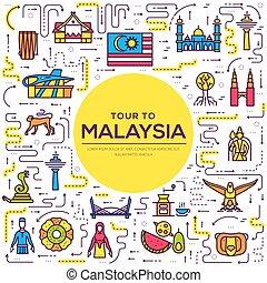 contorno, set, architettura, malaysia, infographic, appartamento, moda, concept., vacanza, articolo, fondo, etnico, feature., linea, icona, persone, paese, tradizionale, posto, magro, monumento, viaggiare