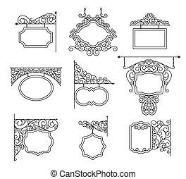 contorno, set., metal, aislado, ilustración, vector, white.,...