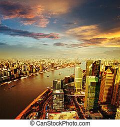 contorno, shanghai, ocaso, pudong