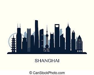 contorno, shanghai, silhouette., monocromo