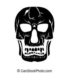 contorno, silueta, de, a, skull., vetorial, illustration.,...