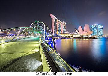 contorno, singapur, anochecer