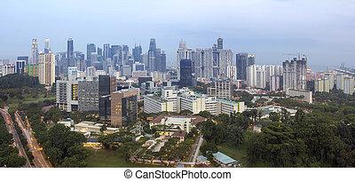contorno, singapur, distrito financiero, anochecer