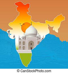 contorno, taj, india, mahal, agra, mapa