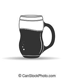 contorno, tazza bianca, fondo, bevanda, isolato, vuoto