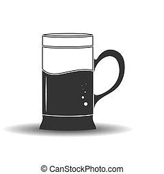 contorno, tazza, isolato, bianco, bevanda, vuoto, fondo