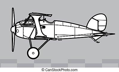 contorno, vector, albatros, d.x., dibujo