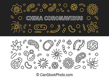 contorno, vector, china, coronavirus, banderas, concepto