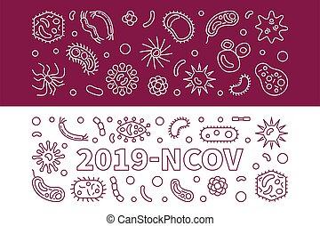 contorno, vector, conjunto, 2019-ncov, banderas, virus, ...