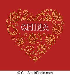 contorno, vector, corazón, china, coronavirus, ilustración, ...