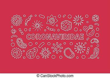 contorno, vector, coronaviridae, bandera, horizontal, ...