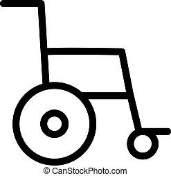 contorno, vector., icona, carrozzella, illustrazione, isolato, simbolo