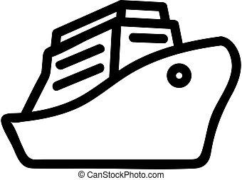 contorno, vector., ilustração, iate, símbolo, isolado, ícone