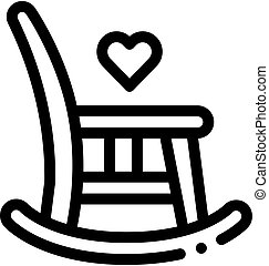 contorno, vector, ilustración, icono, silla, mecedor