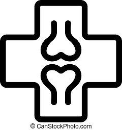 contorno, vector., ilustración, símbolo, orthopedist, aislado, icono