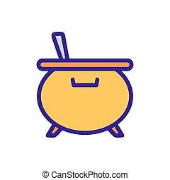 contorno, vector., mago, ilustración, símbolo, caldero, aislado, icono