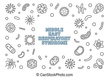 contorno, vector, medio, síndrome, respiratorio, marco, este