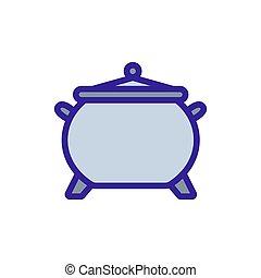 contorno, vector., poción, ilustración, símbolo, caldero, aislado, icono