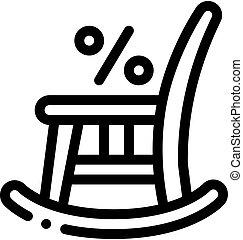 contorno, vettore, illustrazione, icona, sedia, oscillante