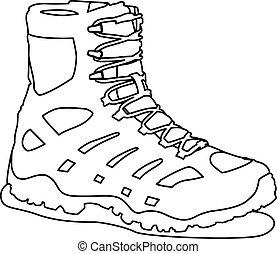 contorno, vettore, illustrazione, tattico, stivali