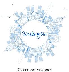contorno, washington dc, contorno, con, espacio de copia, y azul, edificios.