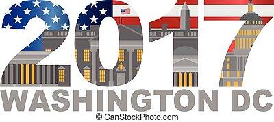 contorno, washington dc, ilustración, bandera, 2017, américa