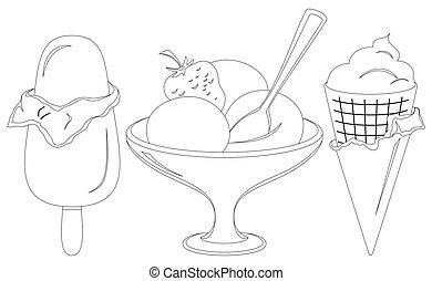 contornos, conjunto, crema, hielo