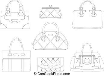 contornos, de, mujeres, bolsas