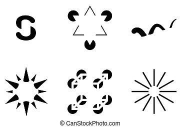 contornos, ilusório, visual, ilusões