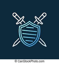contour, épées, traversé, bouclier, vecteur, icône, créatif