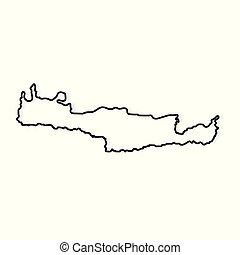 contour, île, illustration, map-, vecteur, noir, crète
