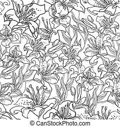 contour., 花, leaves., 手, bubs, 図画, ユリ, 無料で