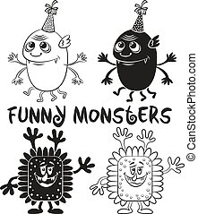 Contour and Silhouette Monsters Set