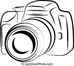 contour, appareil photo, dessin