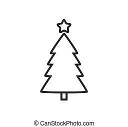 contour, arbre, star., icône, noël