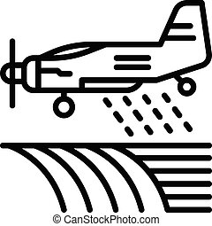 contour, avion, icône, champ, irrigation, style
