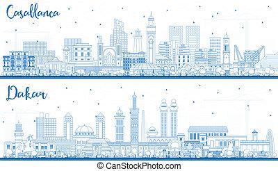 contour, bâtiments., sénégal, maroc, horizon, dakar, ville, casablanca, bleu
