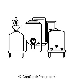 contour beer tanks icon image design, vector illustration
