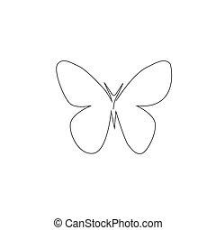 contour, blanc, continu, papillon, style., formulaire, logo, fond, insecte, dessin ligne, vecteur, décoratif, element., ou, isolé, élément, branché, illustration