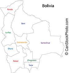 Contour Bolivia map
