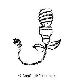 contour bulb eco cable icon