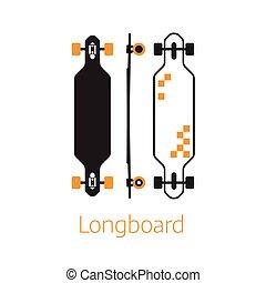 contour, bureau, planche, moderne, long, icônes