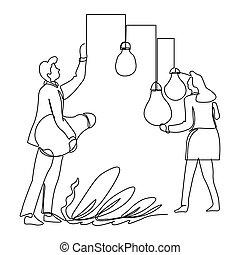 contour, business, femme affaires, isolé, idées, ramassage, homme affaires, dessin
