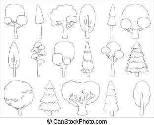 contour, card., stylisé, vecteur, ensemble, grand, logo, à feuilles caduques, habillement, conifère, ou, tatouage, silhouettes, arbres.