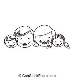 contour cartoon family faces icon