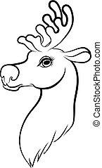 Contour cartoon muzzle reindeer