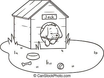 contour, chien, sien, dormir, dessin, amical, chenil